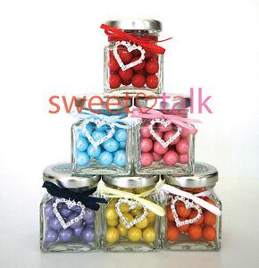 40 x GLASS CANDY BUFFET JAR, BOMBONIERE WEDDING FAVOUR LOLLY JAR, BRIDAL SHOWER