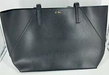 DKNY Large Black Leather Tote Shoulder Bag Shopper Purse Donna Karan - Fast Ship