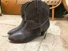 vtg PARUOLO ARGENTINA ankle western silver steampunk  booties womens boots sz 39