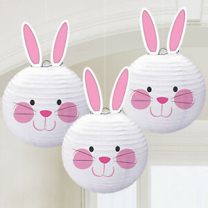 Easter Bunny White Pink Paper Lanterns Egg Hunt Party Hanging Decorations x 3