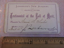 RARE 1871 Award of Merit Lockwood Academy Brooklyn NYC new York City Education