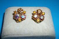 Vintage Karu Aurora Borealis Stones Gold Tone Clip On Earrings