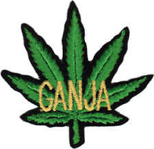 20197 Yellow Ganja Green Pot Leaf Weed 420 Cutout Embroidered Sew Iron On Patch