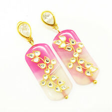 Quartz & Agate Beautiful 925 Sterling Silver Gold Plated Earrings For GIFT