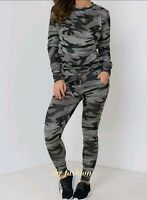 LadiesCo-ord Stretch Army Camouflage Print Jogging SuitSet Womens Tracksuit 8-26