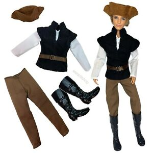 """Eledoll Clothes & Boots Fashion Pack Medieval Peasant Hunter for 12"""" Prince Doll"""