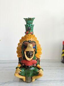 Mexican Aztec Warrior Tequila Bottle - Obsidian Stone Folk Art - Awesome!