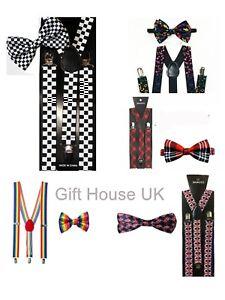 Gift Set Braces Bow tie Men Women Trouser Elastic Y-Back Fancy Dress Party Theme