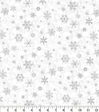 Christmas Fabric Traditions - Glittery Snowflakes on Gray Scroll - Cotton YARD