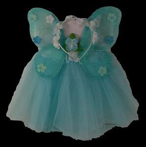 Blue Fairy Princess Costume Tutu Set Butterfly Fairy Wing and Flower Headband