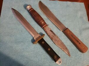 LOT Vintage Fixed Blade  Knives ONTARIO BOWIE UNITED DAGGER HUNTER NO CASE