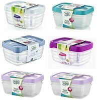 3Pc Plastic Food Container Storage Box LunchBox Office Container With Lid 1.2LT