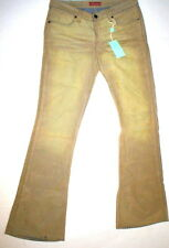 New Womens 31 NWT Italy Designer Indian Rose Jeans Flared Velvet Beige Tan Tall