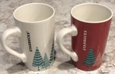 2017 Starbucks Holiday Ceramic Coffee Cups, 17.8 oz Each, Set of 2, White & Red