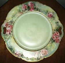 """Antique """"Limoges France"""" 10"""" Handled Fine China Dish Rose Pattern"""