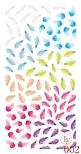 Nail Art 3D Decal Stickers Feathers Various Colors LY002