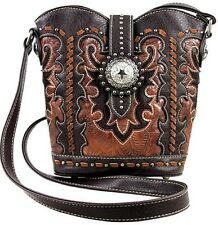 Montana West Concho Collection Bucket Style Messenger Handbag