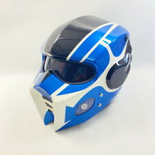 Helmet Bumblebee Man Gloss Full Open Face ABS Blue Motorcycle Custom LED Light
