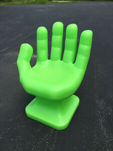 """GIANT Neon/Lime Green left HAND SHAPED CHAIR 32"""" 70s Retro EAMES iCarly NEW"""