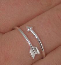 925 Sterling Silver Arrow Love Midi Cuff Open Wire Ring Sizes 5-10