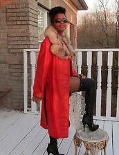 Designer Full length lipstick Red leather &fox Fur Coat jacket Stroller S-M 2-12