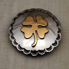 "2""  Nickel Silver Brass Overlay Concho 4 Leaf Clover"