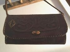 "VINTAGE TOOLED MONOGRAMMED 'C'  HARD LEATHER HAND BAG / PURSE / CLUTCH 8"" X 5"""