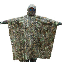 3D Hunting Tactical Camouflage Poncho Cloak Tree Leaves Camo Ghillie Suit