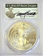 2017-(W) Silver Eagle MS 70 PCGS First Day of Issue Signed Thomas Cleveland FDOI