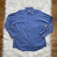 Ermenegildo Zegna Men's Button Up Dress Shirt Blue 2XL XXL Long Sleeves