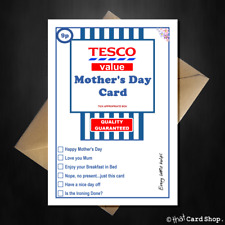 Funny Tesco Value Mothers Day Card A5 Joke Spoof Comedy Basics Love Humour Mum