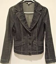 """CAbi Unlined Fitted Denim Jacket Solid Blue """"Lucy"""" Style #860 Size S"""