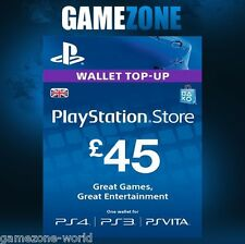 PlayStation Network £45 GBP - 45 Pounds PSN Store Card Key - PS4 PS3 PSP – UK