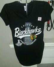 Chicago Blackhawks Women's super soft v-neck t-shirt New size Medium Stanley Cup