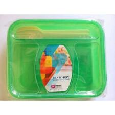 Bento Box/ Bento Plastic Lunch Box Green BPA Free -3 Compartment with Spoon&Fork