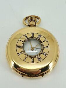 Rare Buren Gold Plated Elgin Cased Half Hunter Pocket Watch. FWO. NICE1