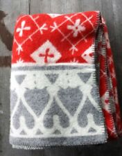 Klippan Sweden 100% Wool Blanket Red, Gray and White - Snowflakes – New