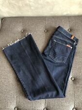 7FAMK 7 For All Mankind DOJO Wide Leg Flare Trouser Jeans Dark Blue Fray Hem 27