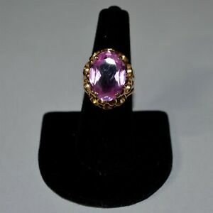 14k Yellow Gold Cocktail Ring w/Large Pink Stone ~ Size 8 & 4gr