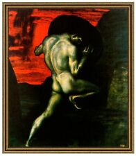 Franz di stucco 30 Sisifo tela 42x49 mitologia malavita dèi pena