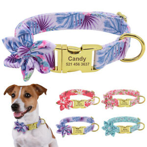 Floral Nylon Personalized Dog Collar with Gold Custom Engraved Dog Nameplate