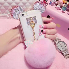 Ring Rabbit Fur Soft Fluffy Ball Ears Crystal Diamond Case Cover for Cell Phone