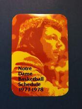 Notre Dame Basketball 1977-78 Pocket Schedule