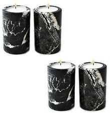 X 4 black marble tea light candle holder - home garden party & barbeque bbq gift