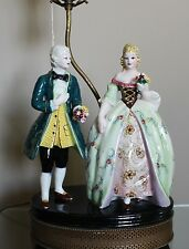 Vintage Figural Victorian Couple Man & Woman Statue Table Lamp Brass Base B