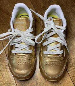 toddler girl gold reebok sneakers size 8c
