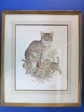"""c.1970 Limited Edition SIGNED Print ~ PATRICK A OXENHAM ~ Kitten Cats FRAMED 25"""""""