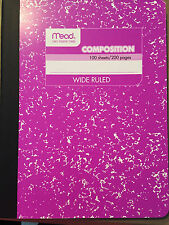 Mead Marble Composition Notebook Wide Ruled Purple