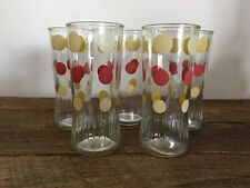 VINTAGE ANCHOR HOCKING DRINKING GLASSES RED YELLOW POLKA DOTS SET OF 5 TUMBLERS