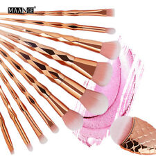 11pc Mermaid Glitter Rose Gold Makeup Brushes Set Powder Foundation Cosmetic Kit